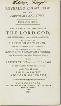 title page of Revealed Knowledge of the Prophecies and Times, signed by William Floyd